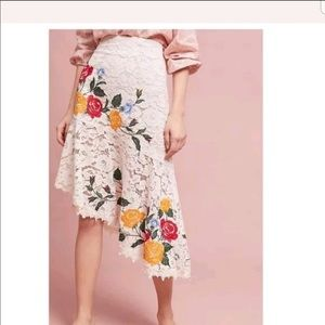 Anthropologie Maeve Ottoline Lace Floral Skirt XS